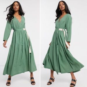 ASOS Green Textured Wrap Maxi Dress 6